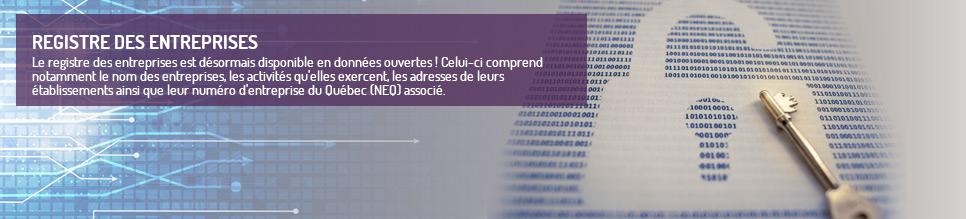 Le registre des entreprises est désormais disponible en données ouvertes ! Celui-ci comprend notamment le nom des entreprises, les activités qu'elles exercent, les adresses de leurs établissements ainsi que leur numéro d'entreprise du Québec (NEQ) associé.